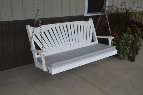 4' Fanback Yellow Pine Porch Swing - White w/ cushion