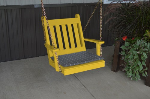 2' Traditional English Yellow Pine Chair Swing - Shown in Canary Yellow w/ Cushion