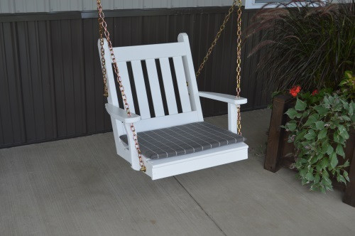 2' Traditional English Yellow Pine Chair Swing - Shown in White w/ Cushion