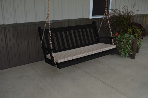 5' Traditional English Yellow Pine Porch Swing - Shown in Black w/ Cushion