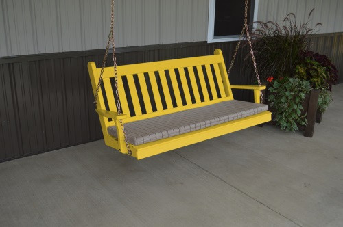 5' Traditional English Yellow Pine Porch Swing - Shown in Canary Yellow w/ Cushion