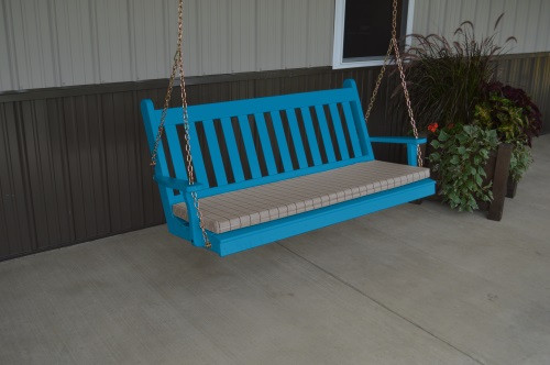 5' Traditional English Yellow Pine Porch Swing - Shown in Caribbean Blue w/ Cushion