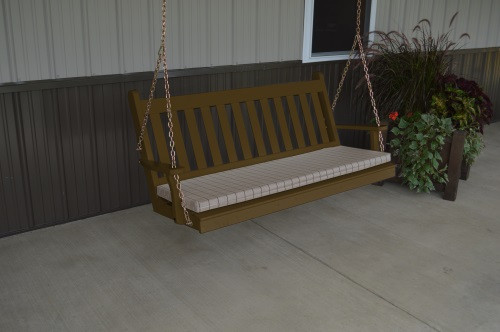 5' Traditional English Yellow Pine Porch Swing - Shown in Coffee w/ Cushion