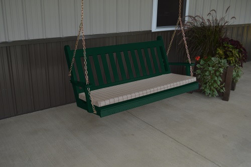5' Traditional English Yellow Pine Porch Swing - Shown in Dark Green w/ Cushion