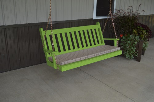 5' Traditional English Yellow Pine Porch Swing - Shown in Lime Green w/ Cushion