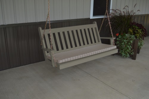 5' Traditional English Yellow Pine Porch Swing - Shown in Olive Gray w/ Cushion