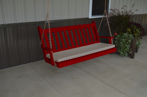 5' Traditional English Yellow Pine Porch Swing - Shown in Tractor Red w/ Cushion