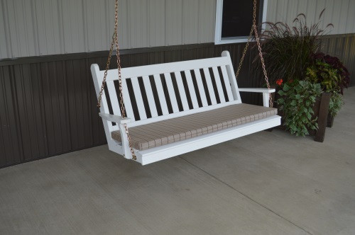 5' Traditional English Yellow Pine Porch Swing - Shown in White w/ Cushion