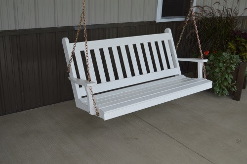 5' Traditional English Yellow Pine Porch Swing - Shown in White