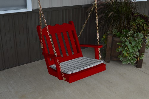 2' Royal English Garden Yellow Pine Chair Swing - Tractor Red w/ Cushion