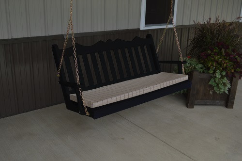 4' Royal English Garden Yellow Pine Porch Swing - Black w/ Cushion