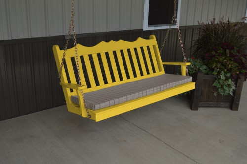 4' Royal English Garden Yellow Pine Porch Swing - Canary Yellow w/ Cushion