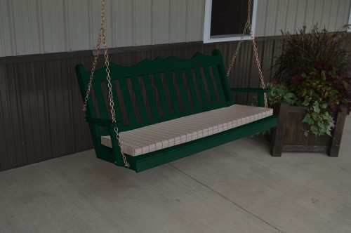 4' Royal English Garden Yellow Pine Porch Swing - Dark Green w/ Cushion