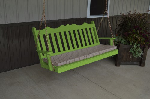 4' Royal English Garden Yellow Pine Porch Swing - Lime Green w/ Cushion
