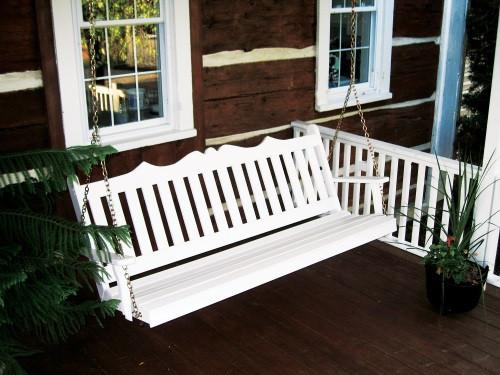 5' Royal English Garden Yellow Pine Porch Swing - White
