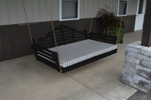 4' Marlboro Yellow Pine Porch Swingbed - Black w/ Cushion
