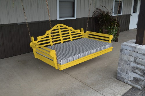 4' Marlboro Yellow Pine Porch Swingbed - Canary Yellow w/ Cushion