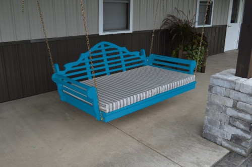 4' Marlboro Yellow Pine Porch Swingbed - Caribbean Blue w/ Cushion