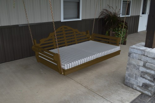 4' Marlboro Yellow Pine Porch Swingbed - Coffee w/ Cushion
