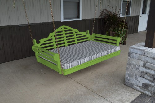 4' Marlboro Yellow Pine Porch Swingbed - Lime Green w/ Cushion