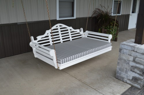 4' Marlboro Yellow Pine Porch Swingbed - White w/ Cushion
