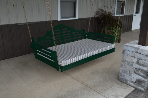 4' Marlboro Yellow Pine Porch Swingbed - Dark Green w/ Cushion