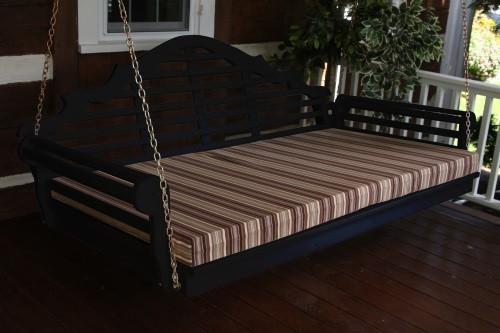 "75"" Marlboro Single Mattress Yellow Pine Swingbed - Black w/ Cushion"