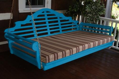 "75"" Marlboro Single Mattress Yellow Pine Swingbed - Caribbean Blue w/ Cushion"