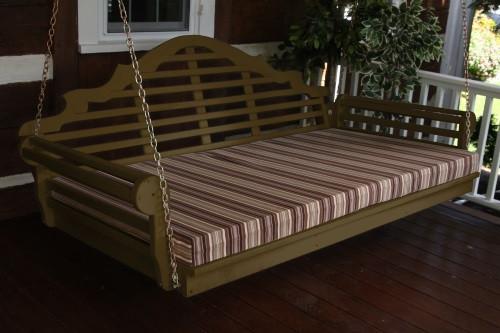 "75"" Marlboro Single Mattress Yellow Pine Swingbed - Coffee w/ Cushion"