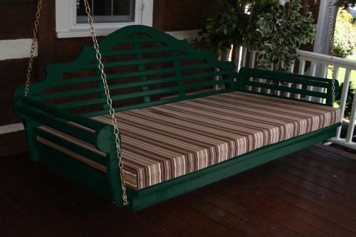 "75"" Marlboro Single Mattress Yellow Pine Swingbed - Dark Green w/ Cushion"