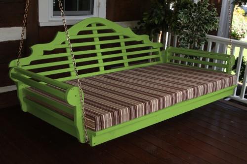 "75"" Marlboro Single Mattress Yellow Pine Swingbed - Lime Green w/ Cushion"