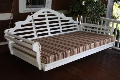 "75"" Marlboro Single Mattress Yellow Pine Swingbed - White w/ Cushion"