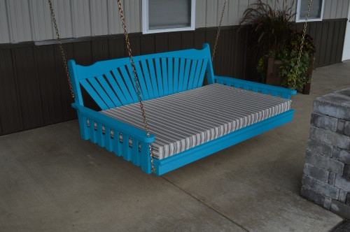 4' Fanback Yellow Pine Swingbed - Caribbean Blue w/ Cushion