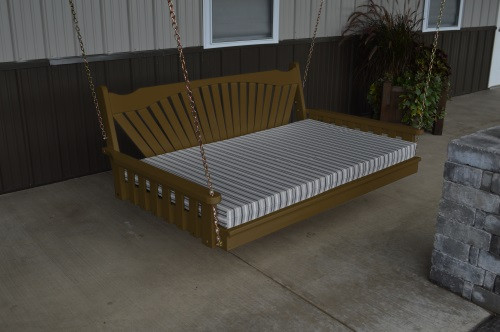 4' Fanback Yellow Pine Swingbed - Coffee w/ Cushion
