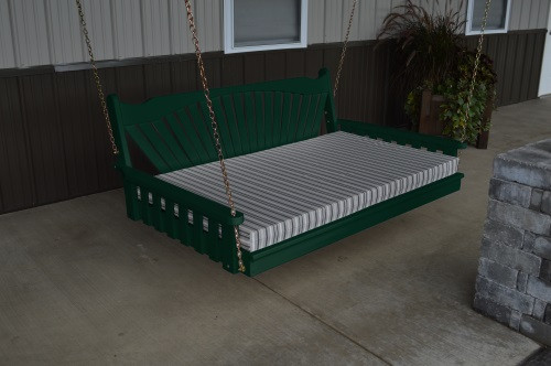 4' Fanback Yellow Pine Swingbed - Dark Green w/ Cushion