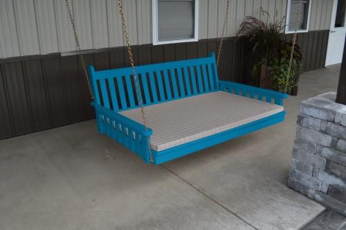 5' Traditional English Yellow Pine Swingbed - Caribbean Blue w/ Cushion