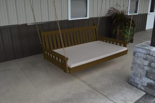 4' Traditional English Yellow Pine Swingbed - Coffee w/ Cushion