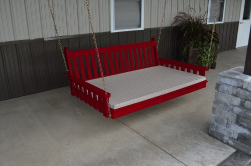 4' Traditional English Yellow Pine Swingbed - Tractor Red w/ Cushion