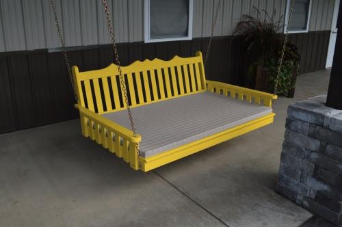 5' Royal English Garden Yellow Pine Swingbed - Canary Yellow w/ Cushion