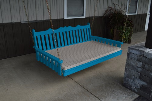 6' Royal English Garden Yellow Pine Swingbed - Caribbean Blue w/ Cushion