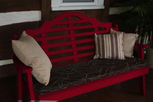 6' Marlboro Yellow Pine Garden Bench - Tractor Red w/ Cushion