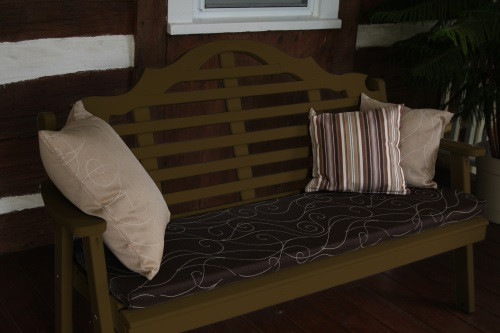 6' Marlboro Yellow Pine Garden Bench - Coffee w/ Cushion