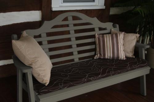6' Marlboro Yellow Pine Garden Bench - Olive Gray w/ Cushion