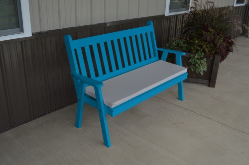 4' Traditional English Yellow Pine Garden Bench - Caribbean Blue w/ Cushion