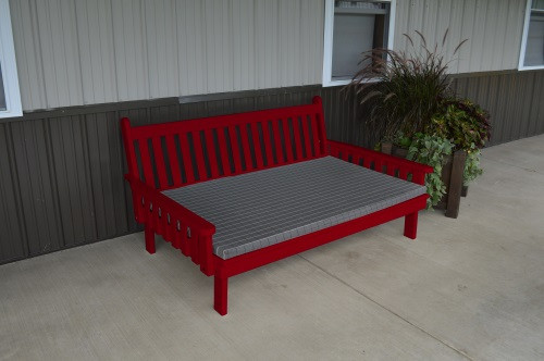 5' Traditional Yellow Pine Daybed - Tractor Red w/ Cushion