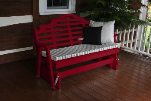 5' Marlboro Yellow Pine Glider - Tractor Red w/ Cushion