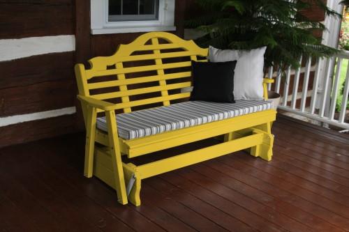 5' Marlboro Yellow Pine Glider - Canary Yellow w/ Cushion