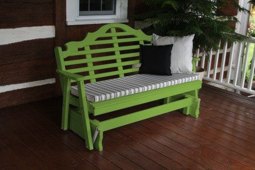 5' Marlboro Yellow Pine Glider - Lime Green w/ Cushion