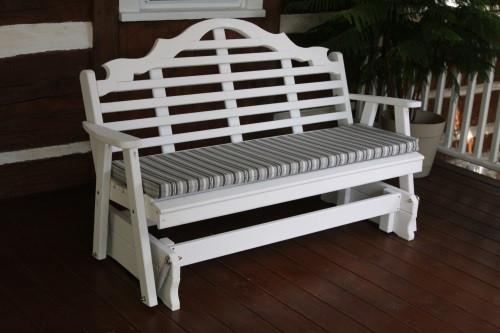 5' Marlboro Yellow Pine Glider - White w/ Cushion