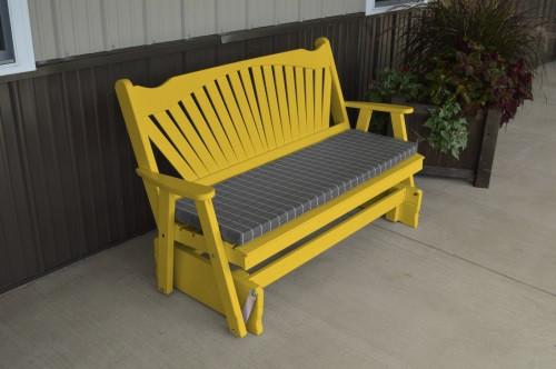 4' Fanback Yellow Pine Glider - Canary Yellow w/ Cushion